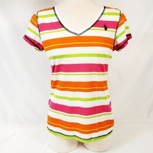 US. Polo Assoc. Women's Striped V-Neck Tee